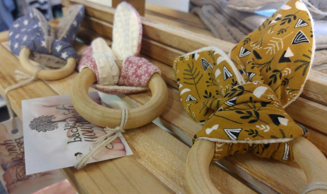 Baby houten bijtringen met zachte oortjes