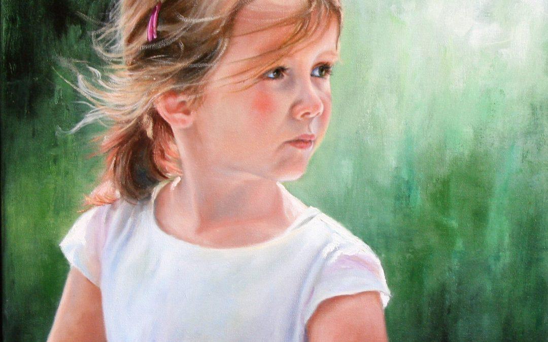 Portret meisje in olieverf van Marian Merk