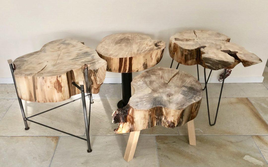 Handgemaakte tafeltjes van Vordens kastanjehout